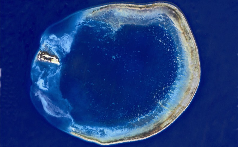 Satellite image of the Pratas Atoll of the Dongsha Islands (Image from National Parks of Taiwan)