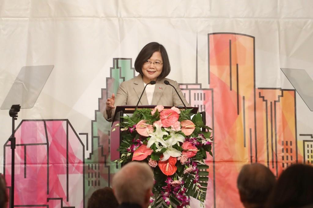 Tsai Ing-wen speaking in Houston on August 18.