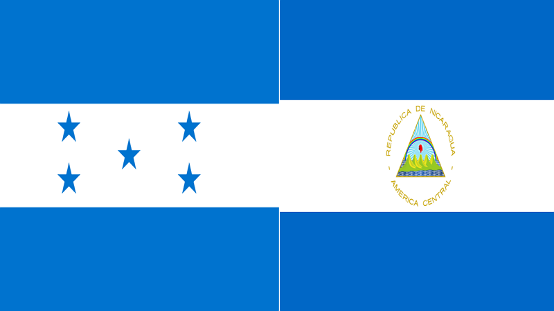 National flags of Honduras (left) and Nicaragua (wikipedia)