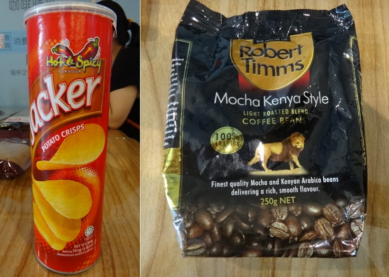 「傑可洋芋片(香辣味)」與「Robert Timms 摩卡肯亞咖啡豆」(圖/衛生局)