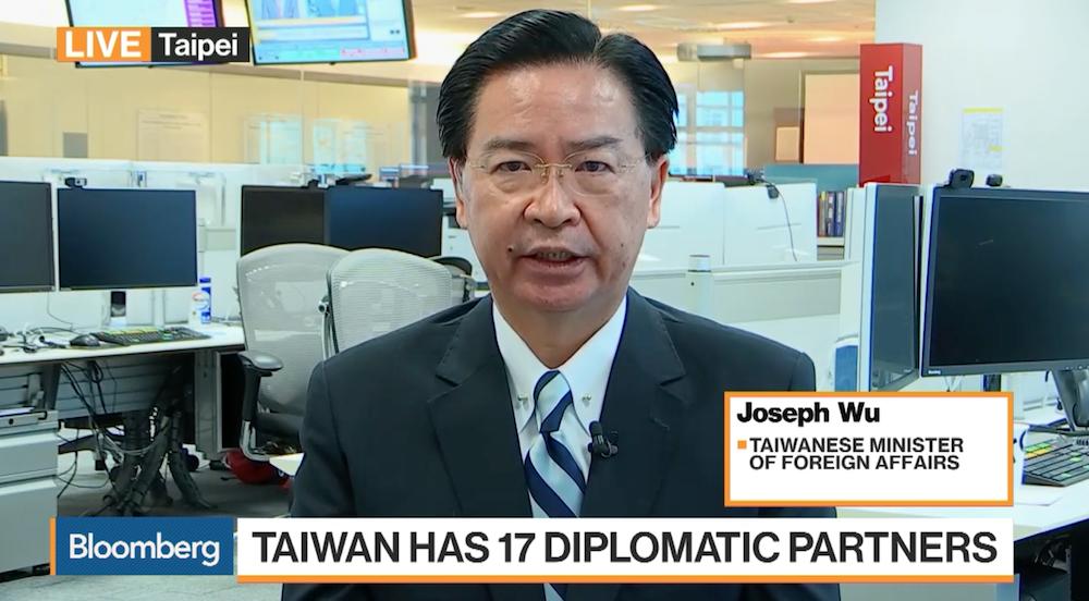 外交部長吳釗燮昨24日接受外媒專訪(畫面截取自彭博電視)