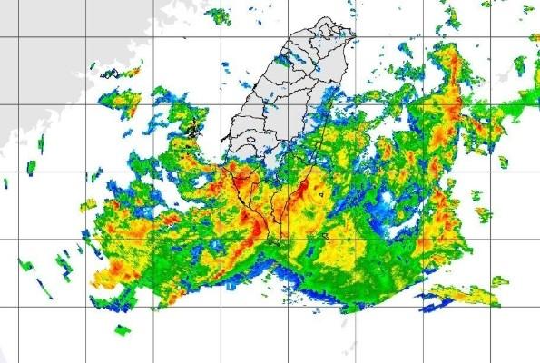 CWB radar map of rain bands over Taiwan.