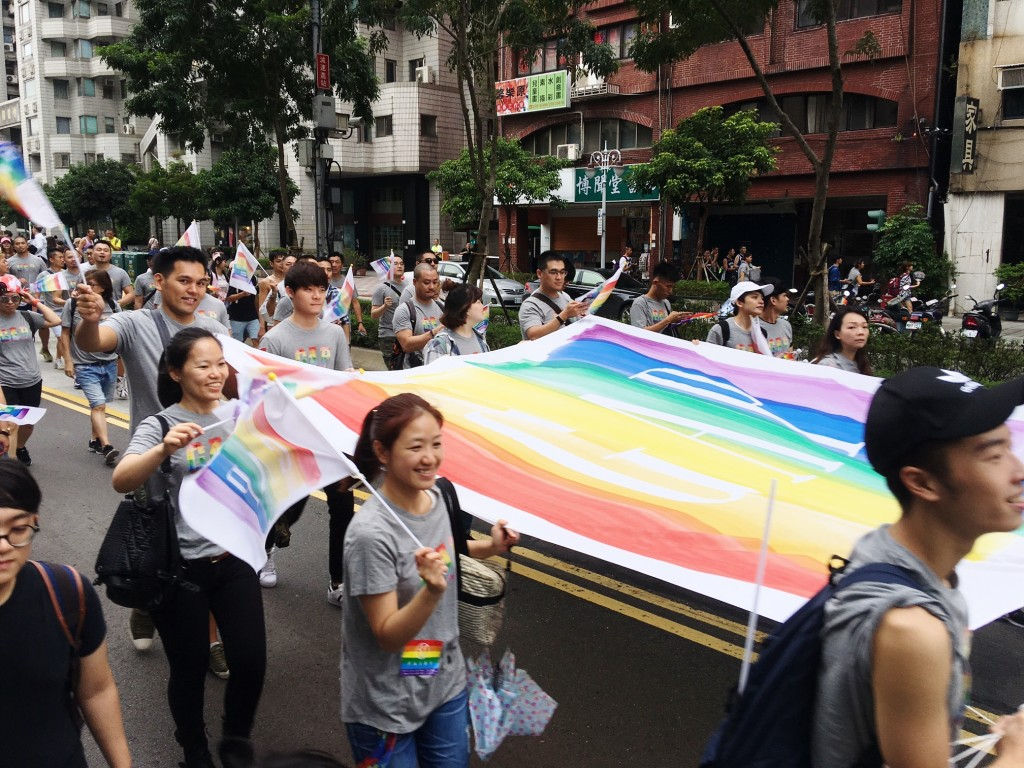 The photo shows Gay Pride Taipei in 2016.
