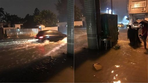 Flooded streets in Kaohsiung. (Photos from Facebook group 爆料公社)
