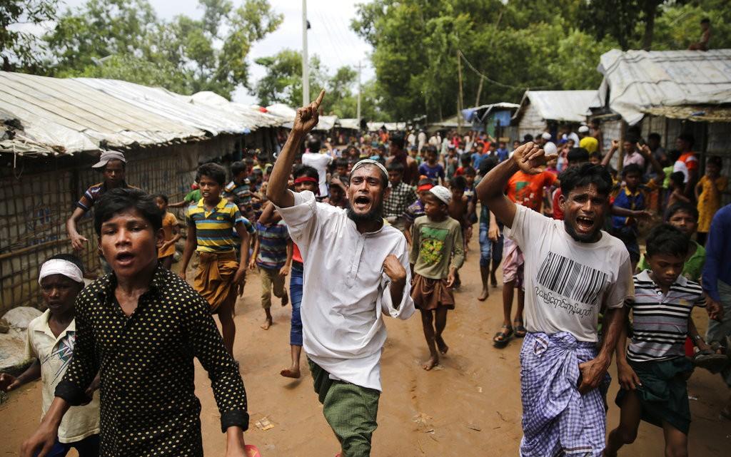 在孟加拉的羅興亞難民,紀念自緬甸逃至該國一周年(美聯社)