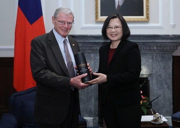 Senator James Inhofe meeting President Tsai Ing-wen last February.