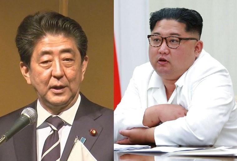 安倍晉三(左)(翻攝自日本首相官邸推特)及金正恩(朝鮮中央通信。美聯社提供)(《台灣英文新聞》合成)