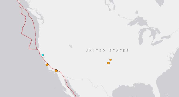 美國地質調查局地震地圖(翻攝自美國地質調查局網站)