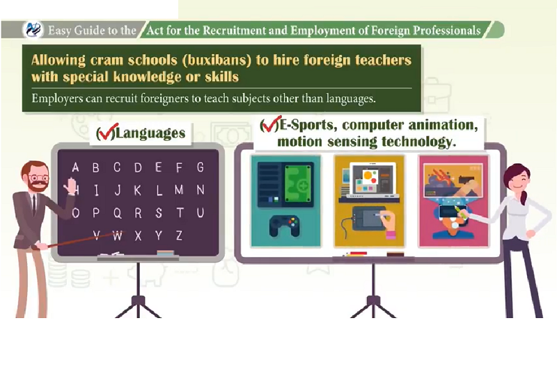 Screengrab of website 'Act for the Recruitment and Employment of Foreign Professionals'