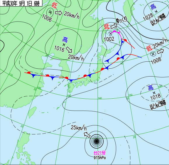 日本氣象廳在日本時間2018(平成30)年9月1日上午6點公佈的最新天氣圖,可見滯留鋒籠罩本州地區(翻攝自日本氣象廳網站)