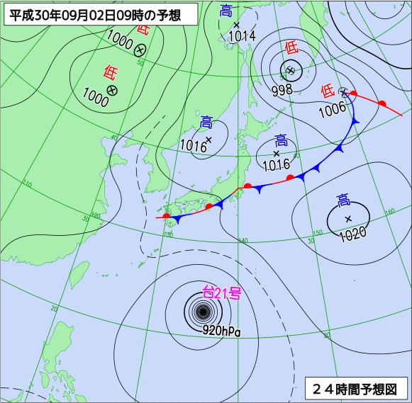 日本氣象廳發佈之2018年9月2日天氣預測圖(翻攝自日本氣象廳網站)