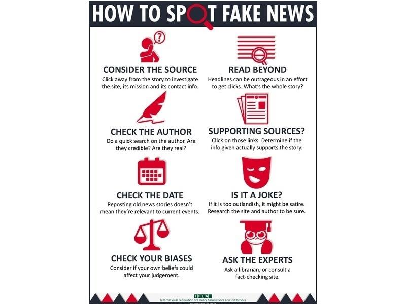 國際圖書館協會聯合會提出如何識別假新聞的資訊圖表。(WIKI CC4.0)