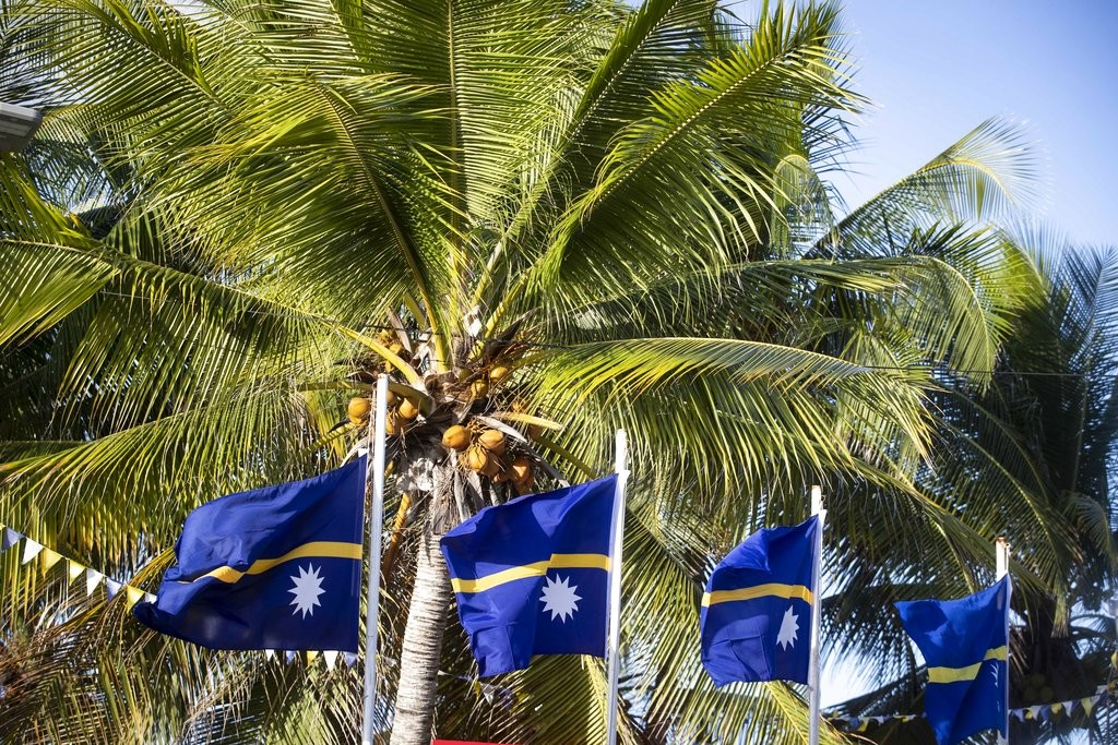 Nauru flags at the 2018 Pacific Islands Forum