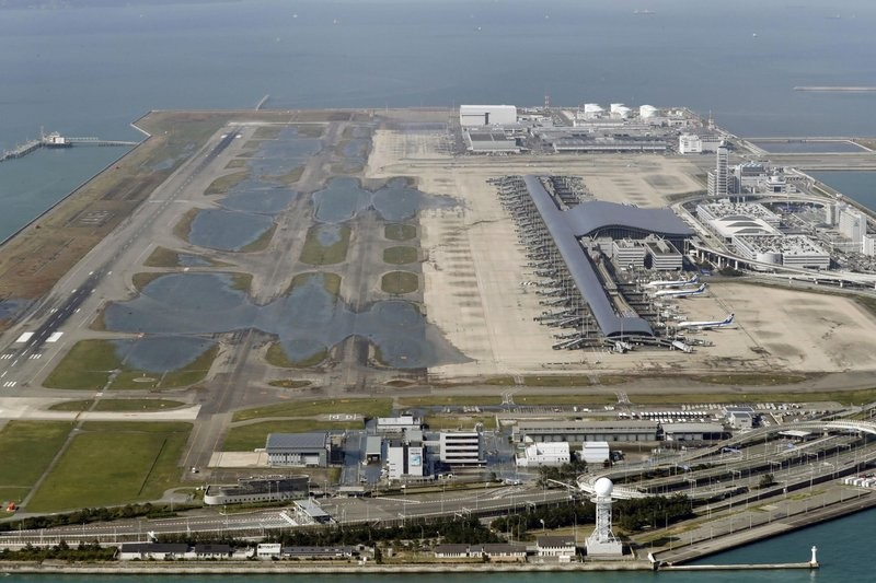 Kansai airport remained closed after the passage of Typhoon Jebi.