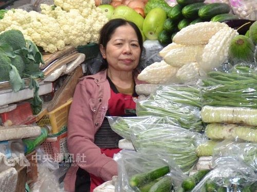 Chen Shu-chu when she was still working at the vegetable market.