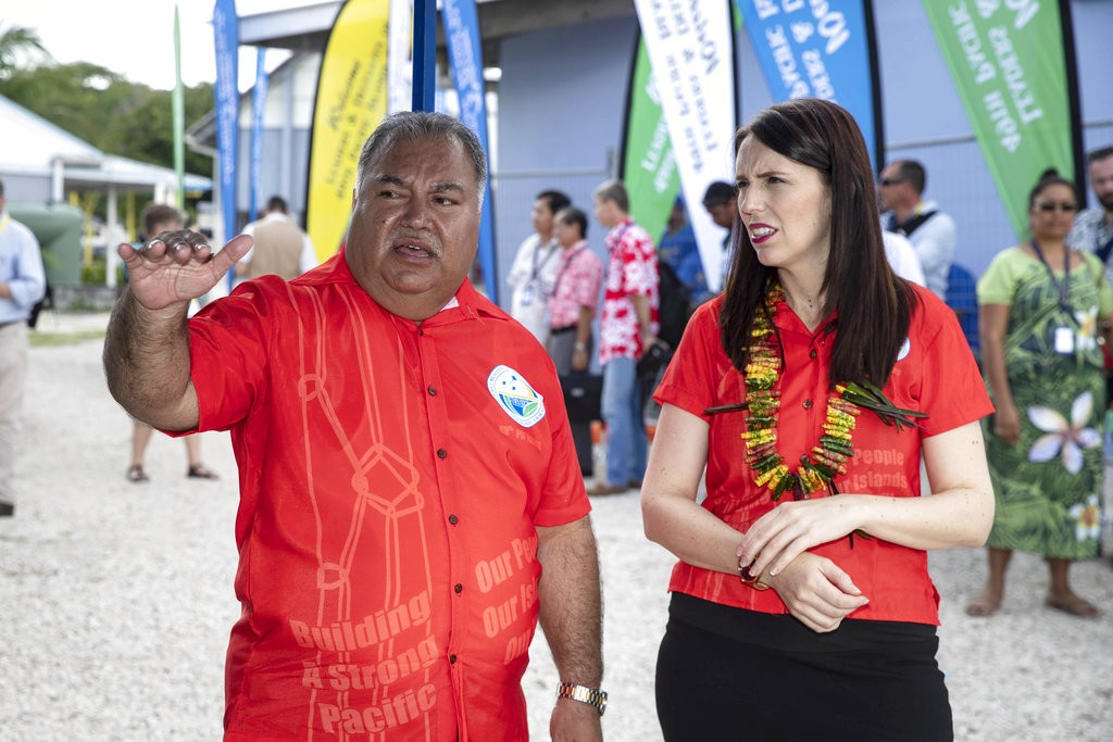 Baron Waqa, left, with New Zealand PM Jacinda Arde...