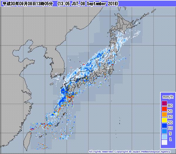 日本氣象廳在日本時間2018年9月8日13點5分公佈之雷達圖(翻攝自日本氣象廳網站)