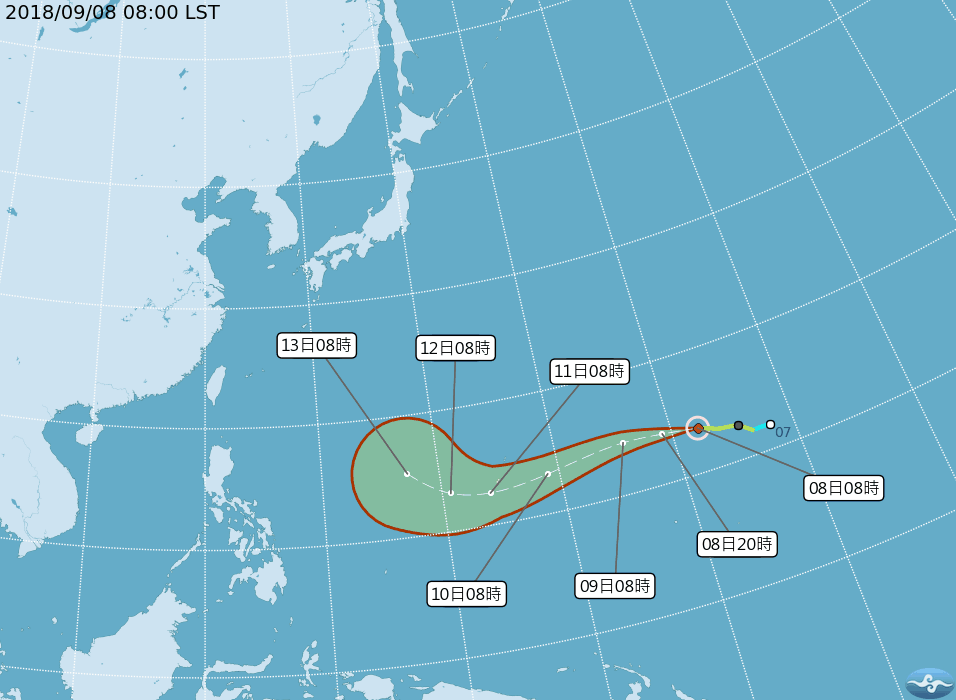 Typhoon Mangkhut could hit Taiwan next weekend, Sept. 15-16 (image courtesy of Central Weather Bureau).