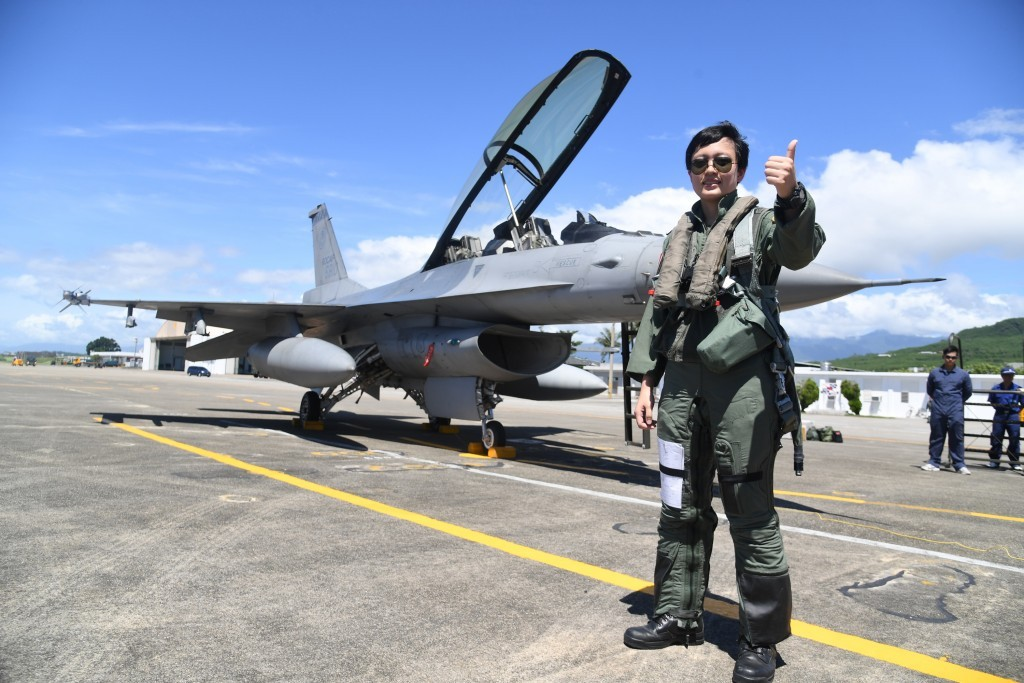 Pilot in front of Taiwan Air Force F-16, July 2018.