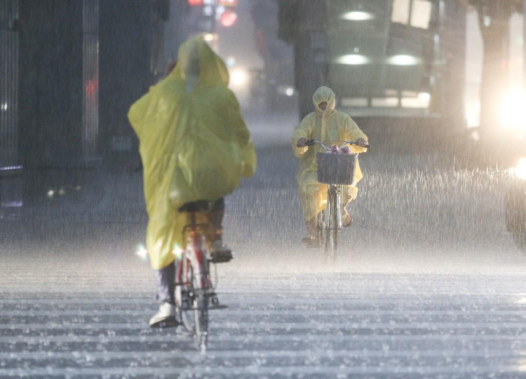 Torrential rain in Taipei Saturday evening.