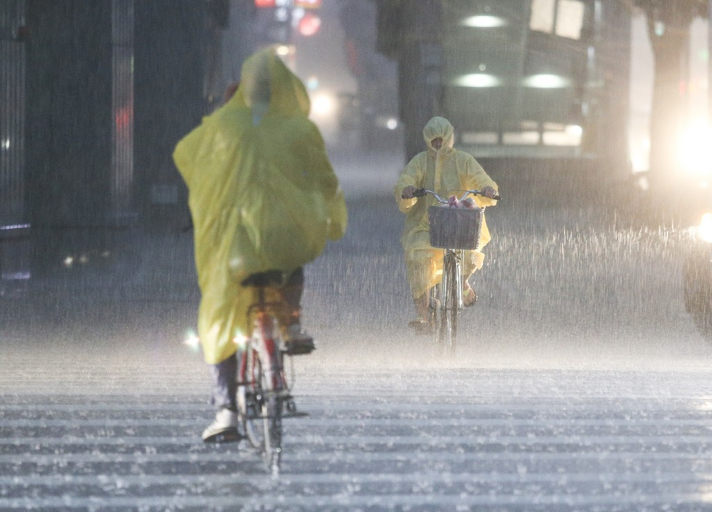 Heavy rain in Taipei on Sept. 8, 2018.