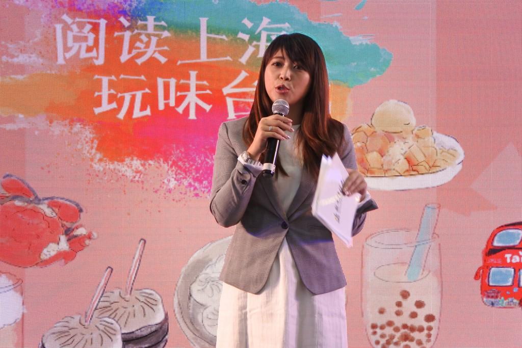 台北市觀光傳播局長陳思宇於8日在上海「微遊雙城」活 動推廣台北市旅遊(照片來源:中央社)