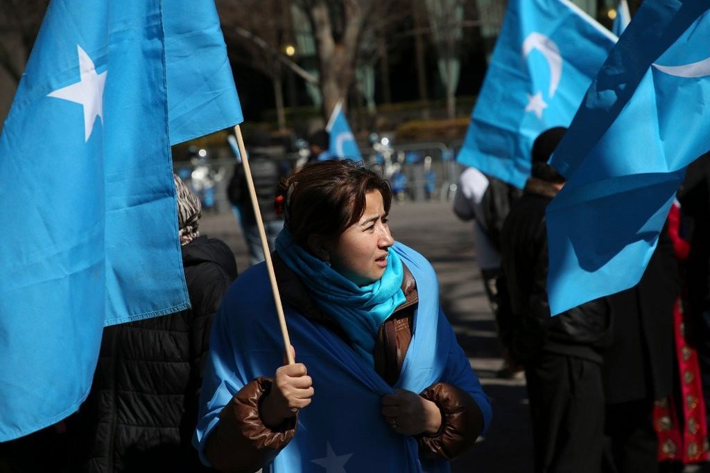 Uighurs protesting in the U.S. against Chinese repression.