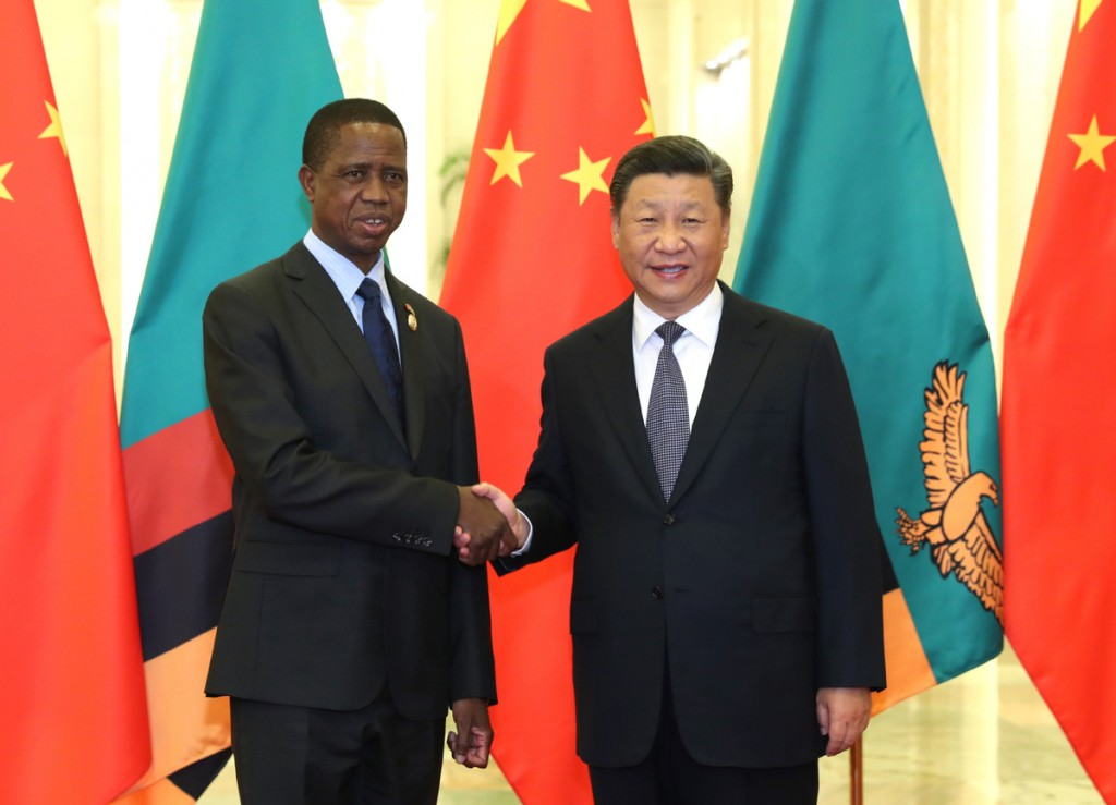 Zambian President Edgar Lungu with Xi Jinping (Chinese media)