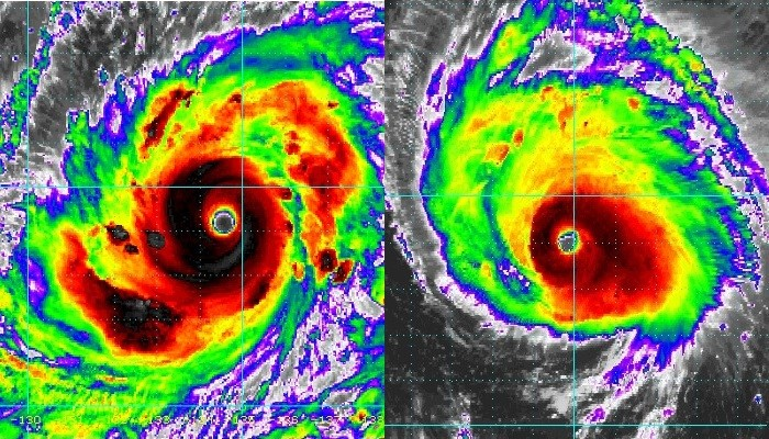 Mangkhut (left), Florence (right). (Satellite images from NOAA)