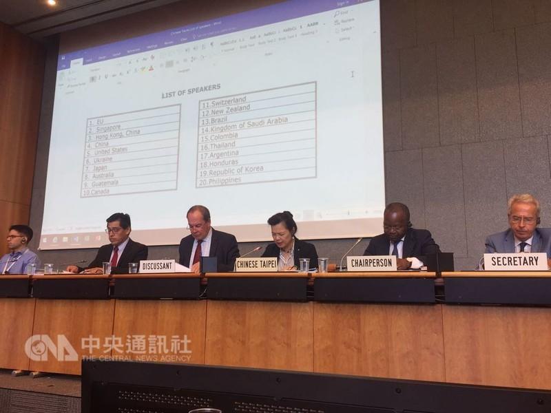 經濟部次長王美花(右3)12日出席世界貿易組織(WTO)貿易政策檢討會議,歐盟駐WTO大使范亥克倫(左3)任與談人,顯示對台灣重視。(圖片
