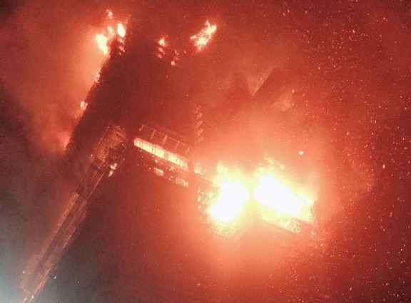 Tower engulfed in flames. (Photo from New Taipei City Fire Department)
