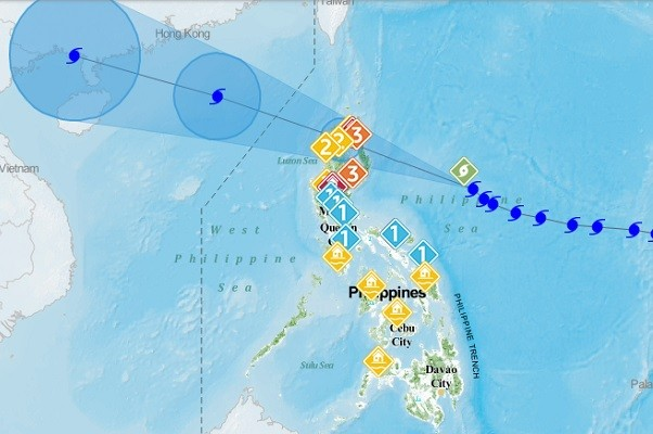 PAGASA map showing areas in Philippines were alerts have been issued.