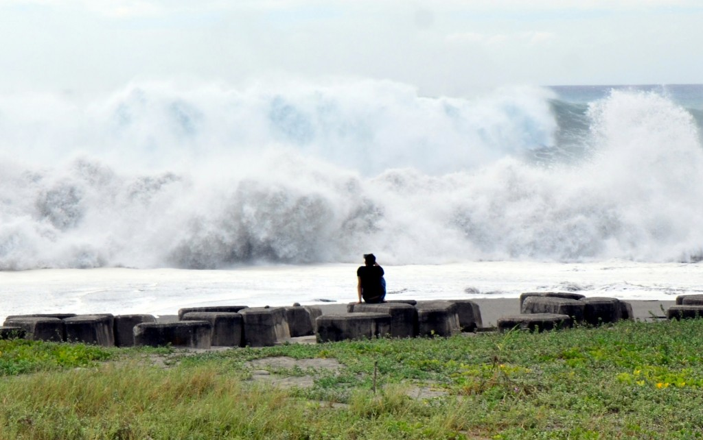 Waves in Taitung County on Taiwan's east coast Friday.