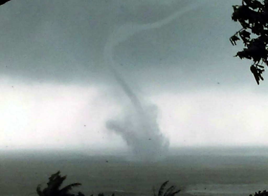 A waterspout formed off Chenggong, Taitung County, Saturday.