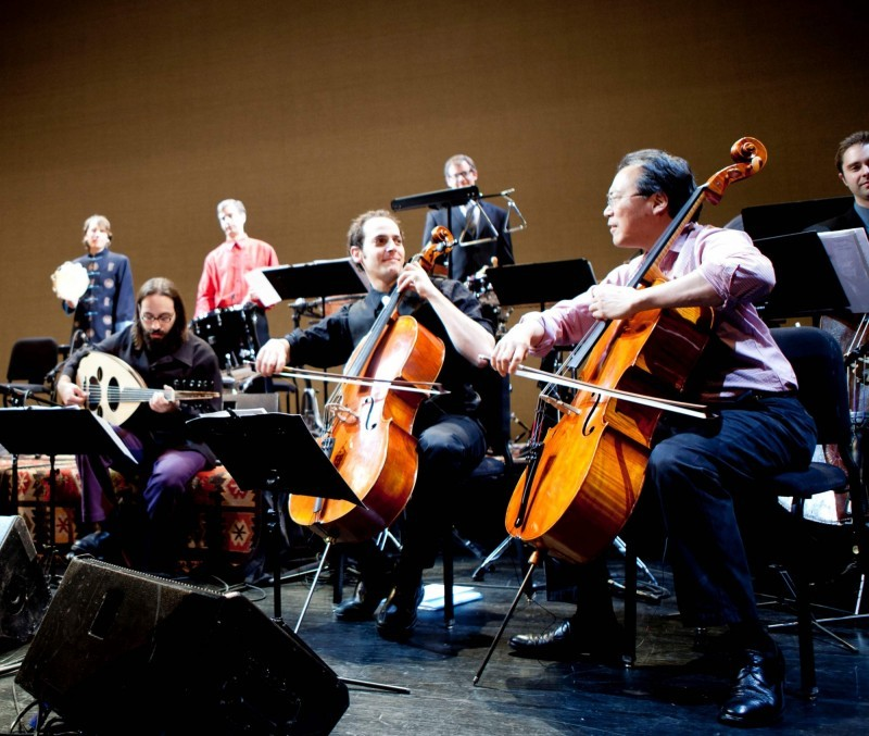 Yo-Yo Ma, right, with Silk Road Ensemble (Image courtesy of Management of New Arts)