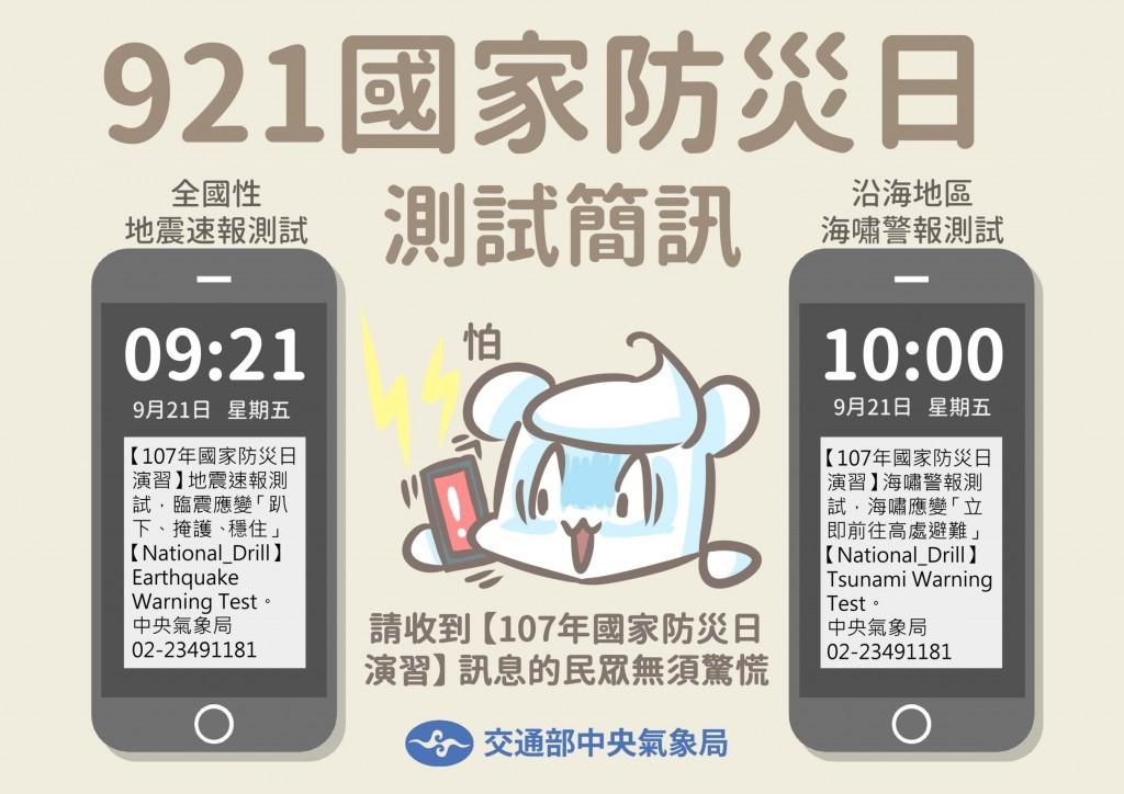 Taiwan's CWB sent test tsunami, earthquake alerts to 4G users on Friday