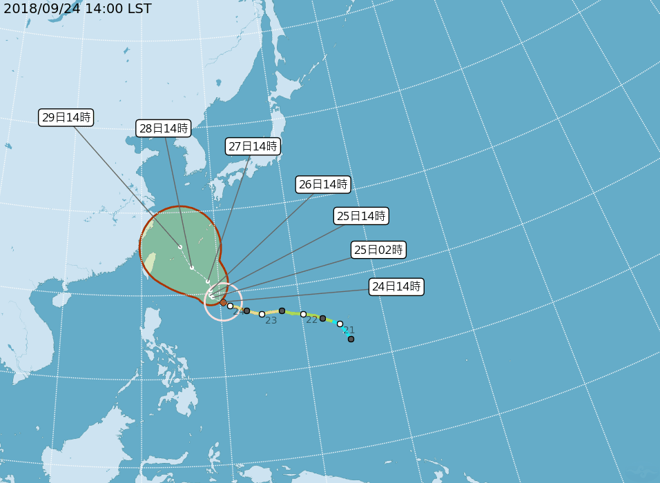 Super Typhoon Trami predicted path on Sept. 24 (CWB image)