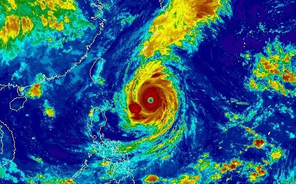 NOAA infrared satellite image of Super Typhoon Trami.
