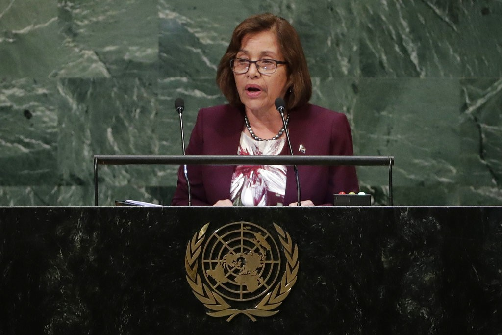 President Hilda Heine of the Marshall Islands speaking at the UN General Assembly.
