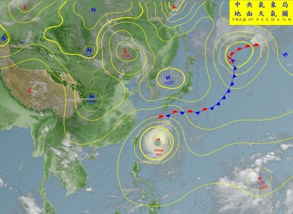 Typhoon Trami lies just east of Taiwan, but Tropical Storm Kong-rey is likely to emerge Saturday (bottom right on the map, courtesy of the Central Wea