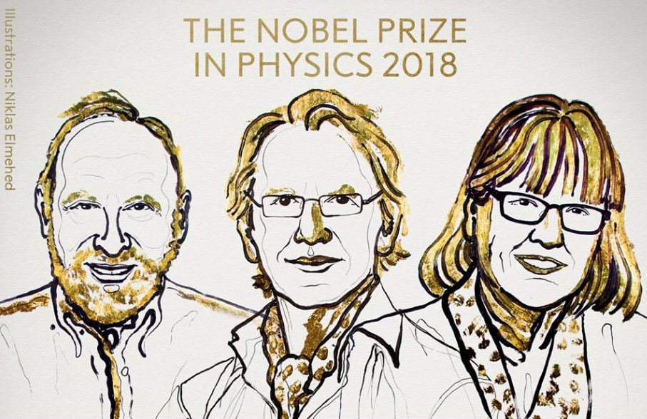 Nobel Physics Prize winners Arthur Ashkin (U.S.), Gerard Mourou (France) and Donna Strickland (Canada) (image courtesy of Nobel Prizes Facebook page).