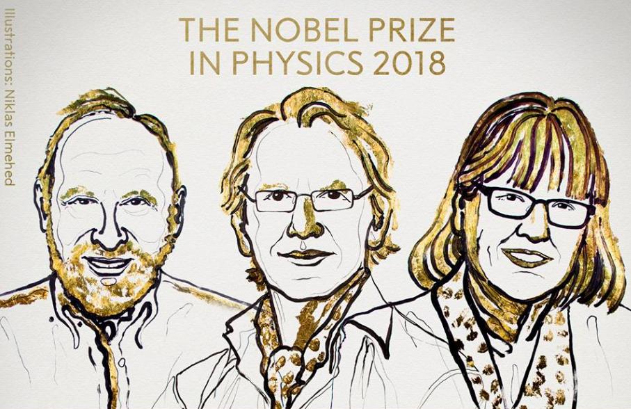 2018年諾貝爾物理學獎得主今(2)日揭曉,由美國學者亞希金(左)、法國學者穆胡(中)和加拿大學者史垂克蘭(右)獲得殊榮。(圖取自Nobe