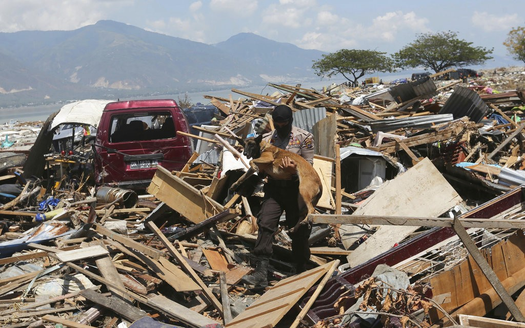 Wreckage after earthquake in Palu, Central Sulawesi, Indonesia.