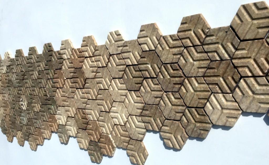 Upcycled housing tiles manufactured by Miniwiz (Image from Miniwiz)