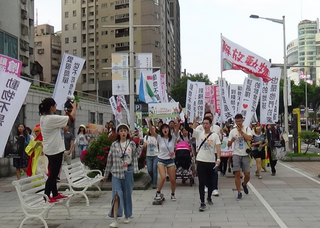Protestors march for animal rights in Taipei