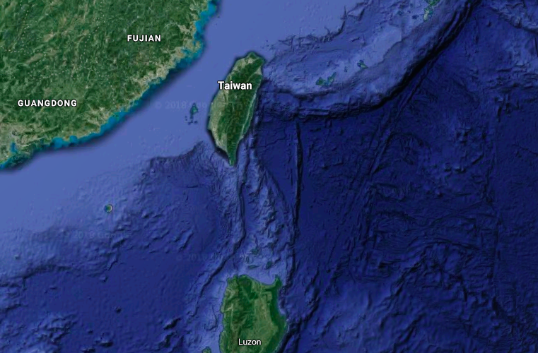 The Manila Trench lies 100 km off the southern shores of Taiwan (Image courtesy of Google Maps)