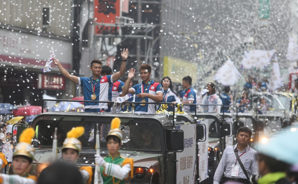 Taiwanese athletes during National Day celebration in Taipei