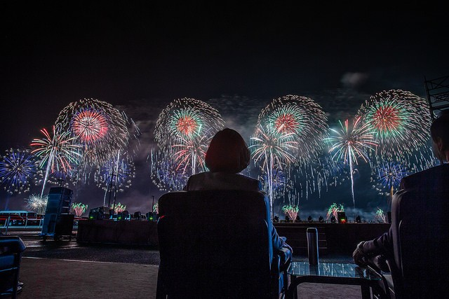 President Tsai watching fireworks. (Image from 總統府 flickr)