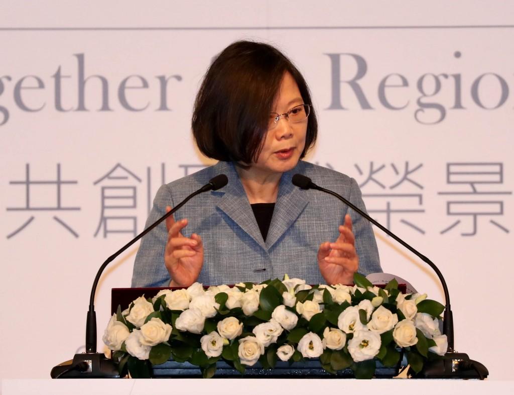 總統蔡英文今11日於臺北出席「玉山論壇」開幕式(照片來源:中央社題供)