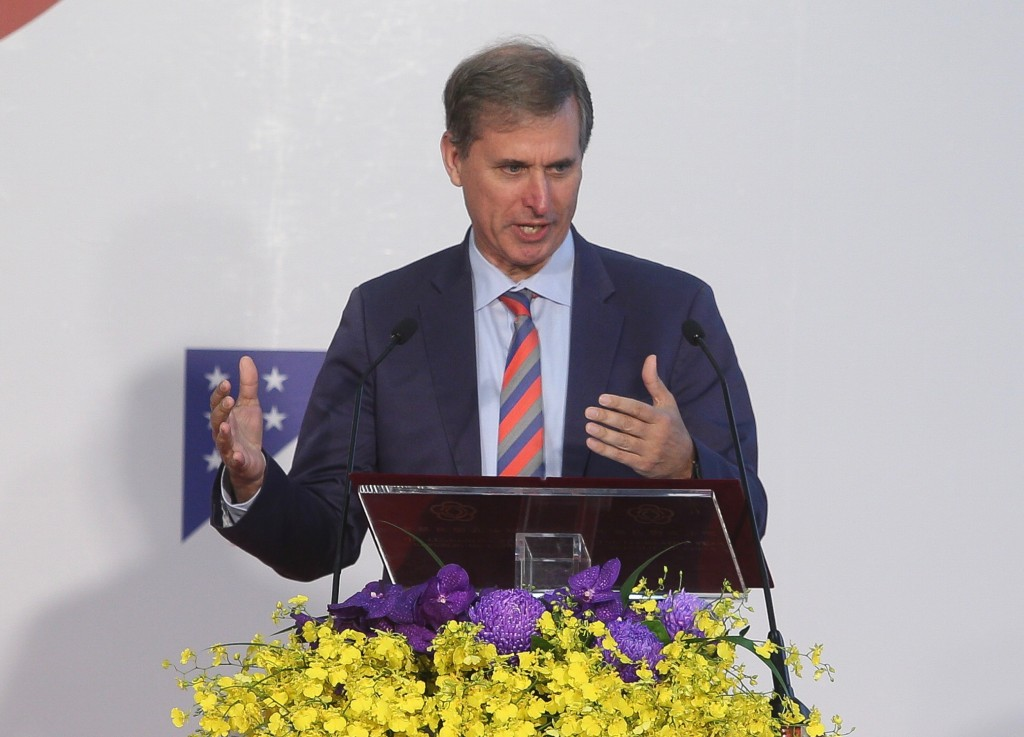 U.S. Deputy Assistant Secretary of State Scott Busby opens the GCTF workshop on media literacy in Taipei on Oct. 18 (Source: CNA)